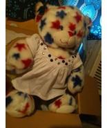 BABW Build-A-Bear 14'' Teddy Bear Plush Patriotic USA White with Red Blu... - £12.48 GBP