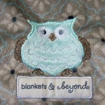 Blankets and Beyond Gray Owl Baby Receiving Blanket Lovie Lovey Blue Trim - $21.99