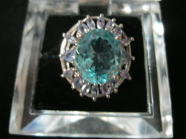 BLUE TOPAZ and IOLITE Cocktail RING set in Sterling Silver-Size 7 -FREE ... - $85.00