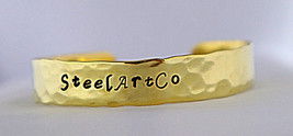 Customizable, Brass, Bracelet, Hammered, Personalized, Bangle, Hand-stam... - $19.35
