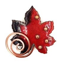 Matisse Renoir Vintage Copper and Enamel Brooch  Mid Century Modern Leaf... - $25.00
