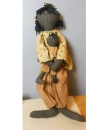 "Hand Made Black Cloth Doll with Baby 27"" Tea Stained Clothes - $44.40"