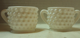 Vintage Fenton Hobnail White Milk Glass Small Creamer & Sugar Set Elegan... - $9.00