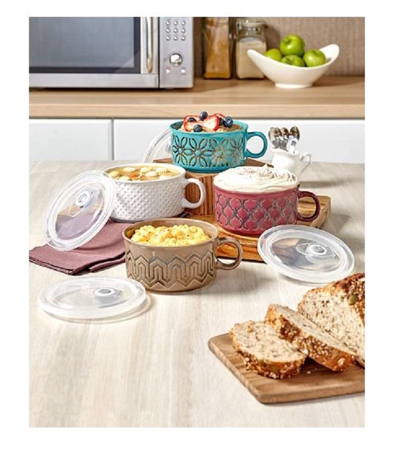 22-Oz Embossed Souper Mug w Lid Soup Bowl Microwave Dishwasher Oven Freezer Safe