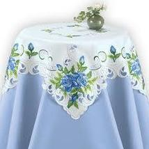 Blooming Blue Roses Table Linens - $12.25