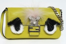 New $1100 Fendi Micro Baguette Bugs Fur Lime Leather Messenger Bag - $880.04