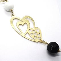 Silver necklace 925, Yellow, Onyx, White Agate, Double Heart Pendant image 4