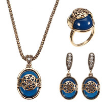 JASSY® Vintage Gold Silver Necklace Natural Blue Stone Ring Retro Earrin... - $31.26