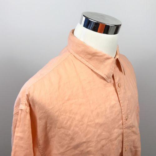 a9cfddf84c7 Tommy Bahama Indigo Palms Mens XL 100% Linen Peach Casual Beach Vacation  Shirt -  14.61