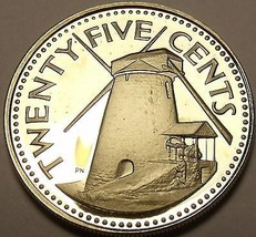 Barbados 1978 25 Cents Rare Proof~4,436 Minted~Morgan Lewis Sugar Mill~F... - $9.44
