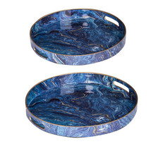 Modern Chic Blue Round Trays Set Of 2 - 44046 - £46.52 GBP