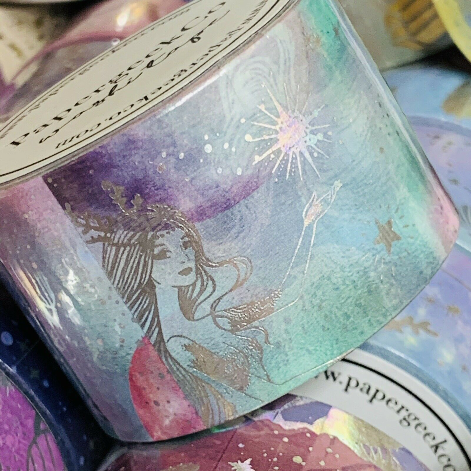 SEALED PAPERGEEK MERMAID Sold Out Silver FOIL WASHI SET 33 Feet Rolls 2 ROLL SET