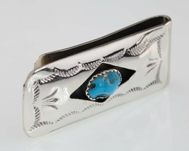 Navajo sterling silver turquoise clip ticket nice condition - $74.13