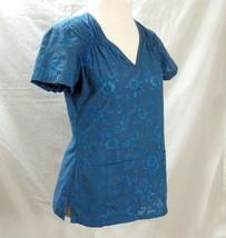 8f461fa1122 Koi Scrubs Scrub Top Size S Small Kathy Peterson Blue Embroidered Floral -  $29.99
