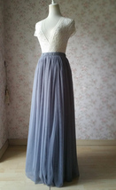 GRAY Elastic High Waisted Full Midi Tulle Skirt Plus Size Bridesmaid Midi Skirt