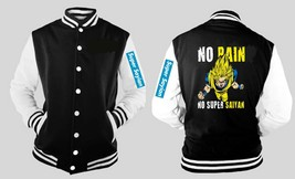 Super Saiyan Dbz No Pain Varsity Baseball Fleece Jacket With Sleeve Logo - $41.57