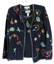 Indigo Moon Womens S  Blue  heavily beaded Embroidered Jacket & Shell SE... - $99.00