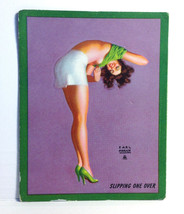 1940s Pinup Girl EARL MORAN Ink Blotter Card Slipping One Over Sexy Brun... - $15.83