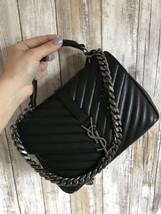 YSL Yves Saint Laurent Black Leather Medium College Chain Crossbody Bag ... - $1,899.99