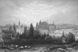 GERMANY View of Aachen Aix la Cheapelle - 1860s Engraving Print - $13.77