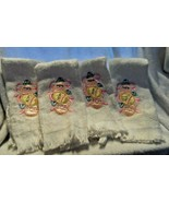 set of 4 white finger tip towels  with embroidered pastel Easter Eggs - $13.50
