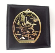 California State Landmarks Brass Ornament Black Leatherette Gift Box - $13.95