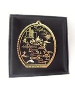 California State Landmarks Brass Ornament Black Leatherette Gift Box - $13.95