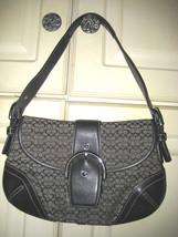 AUTH COACH Black Signature Hobo Handbag Shoulder Bag Jacquard Canvas 6818 - $38.60