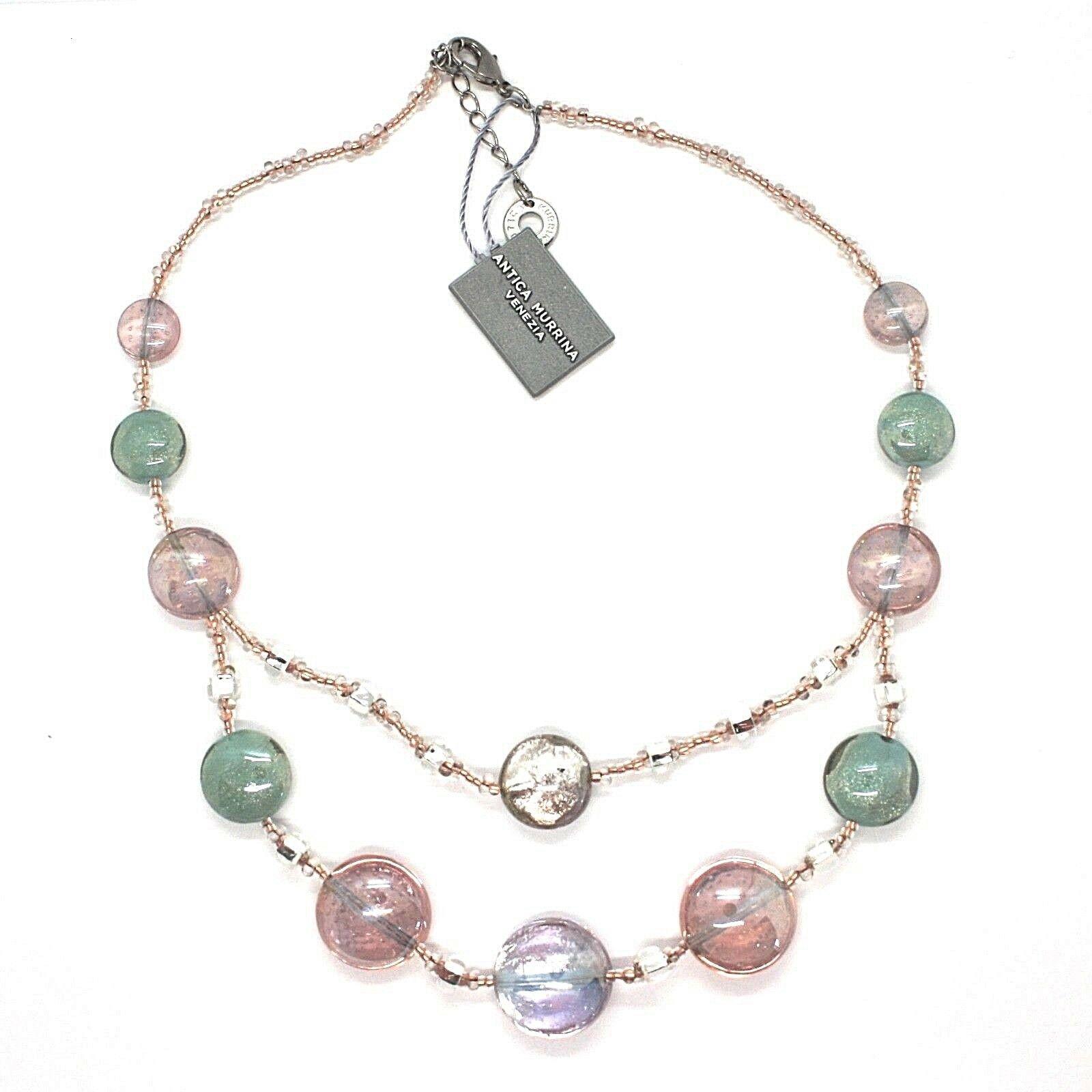 Necklace Antica Murrina Venezia Lampwork Murano Glass Charm Bead Purple Green
