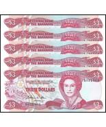 Bahamas 3 Dollars X 5 Pieces (PCS), 1974, P-44a, UNC, Queen El...