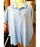 mens light blue shirt short sleeves golf polo sport collar neck size XL ... - $4.50