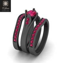 Bridal Wedding Ring Set Ruby Pink Engagement Ring Set Anniversary Gift For Her - $899.99