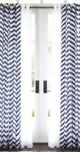 "New JC Penney Home Cotton Classics Grommet Panel Chevron Stargazer 50"" x... - $18.90"