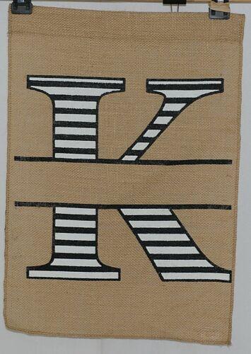 Kate Winston Brand Brown Burlap Monogram Black and White K Garden Flag