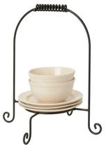 DINNER PLATE STACKER Wrought Iron Dinnerware Display Buffet Caddy USA HA... - $39.19