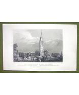 SWITZERLAND Basel Battle of St. Jacob Monument - 1840s Antique Print Eng... - $13.05
