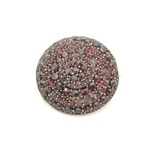 Antique Bohemian Rose Cut Garnets Round 3 Tier Pin Brooch Gold Filled - $188.09