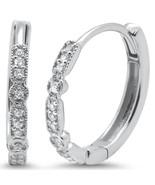 14K White Gold .11 Carats Diamond Hoop Huggie Earrings - $269.99