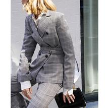 Women's Brand Fashion Plaid Double Breasted Blazer with Belt Pants Suit image 2