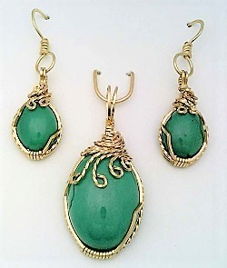Turquoise gold wire wrap pendant earrings set 4
