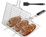 WolfWise Stainless Steel Portable BBQ Grilling Basket Fish Vegetable Steak BRUSH