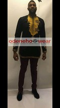 Odeneho Wear Men's Black Polished Cotton Top/Gold Embroidery. African Clothing. - $84.15+