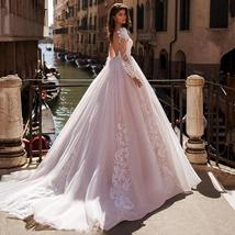 Sexy Long Sleeve Scoop V Neck Backless A-Line Luxury Wedding Gown With Beaded Ap