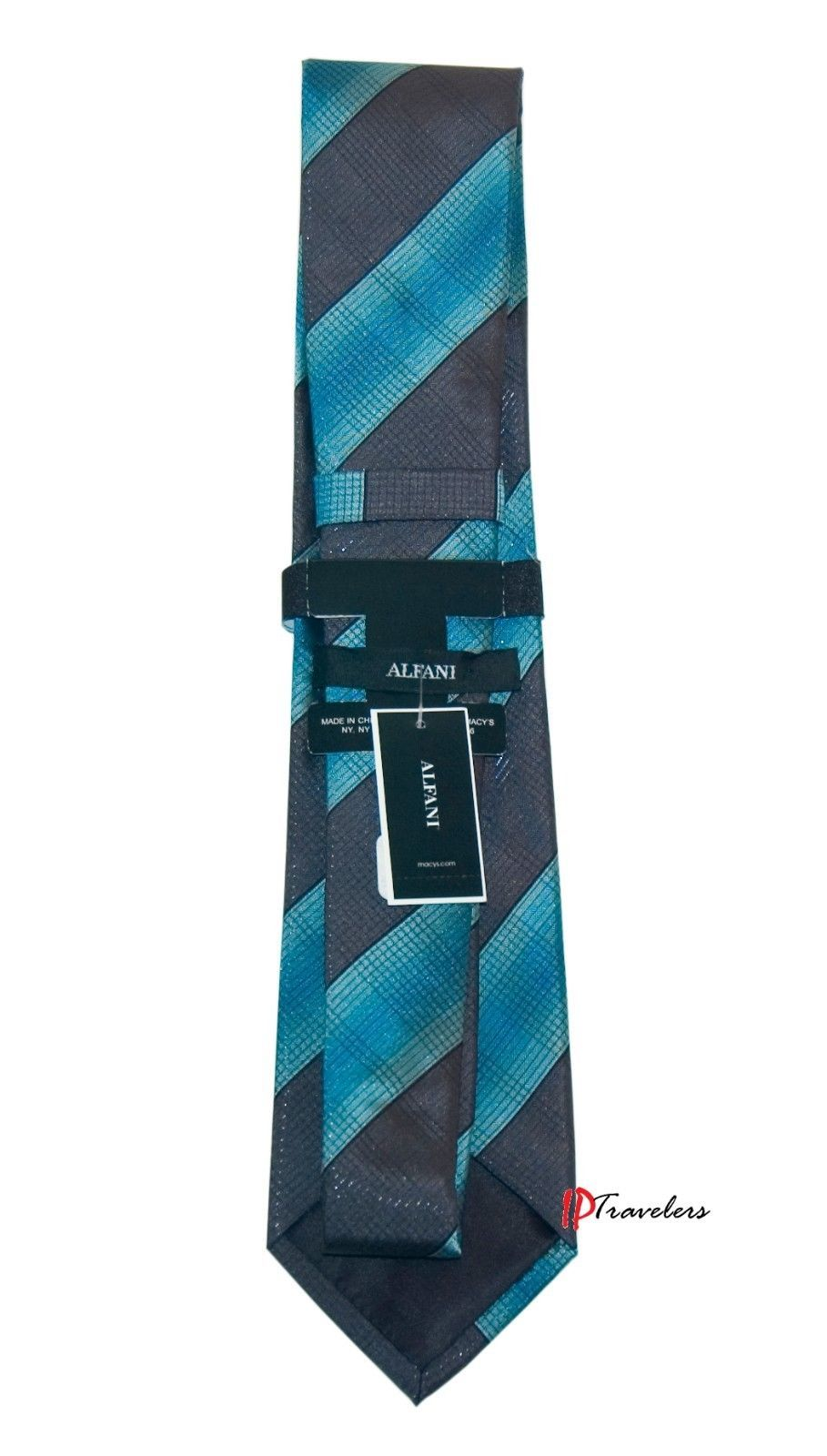 Alfani Men's Neck Tie Aqua Blue with Black Stripes Silk Classic Length $49.50 image 2