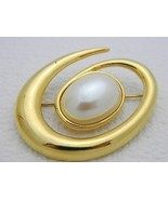 Vintage Gold Tone MONET Faux Pearl Pin Brooch - $19.80