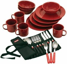 Portable Kitchen Accessories Enamelware Cutlery Set Camping Picnic 24 Pi... - $70.13