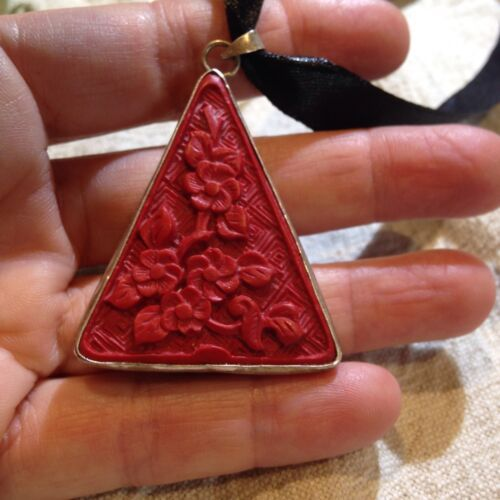Hand Carved Genuine Red Cinnabar Pendant Silver Bronze Vintage Necklace Choker