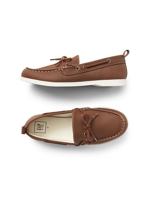 Gap Kids Boys Boat Shoes 2 Youth Brown Round Toe Lace Up Treaded Sole Pullon New