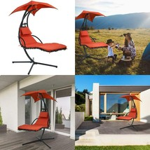 Hanging Chaise Lounger Chair Arc Stand Air Porch Swing Hammock Chair Canopy - $154.32