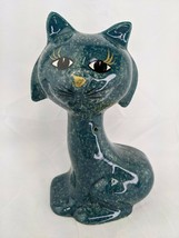 "Enesco Green Cat Ceramic Bank Figure 7"" 1983 - $19.95"